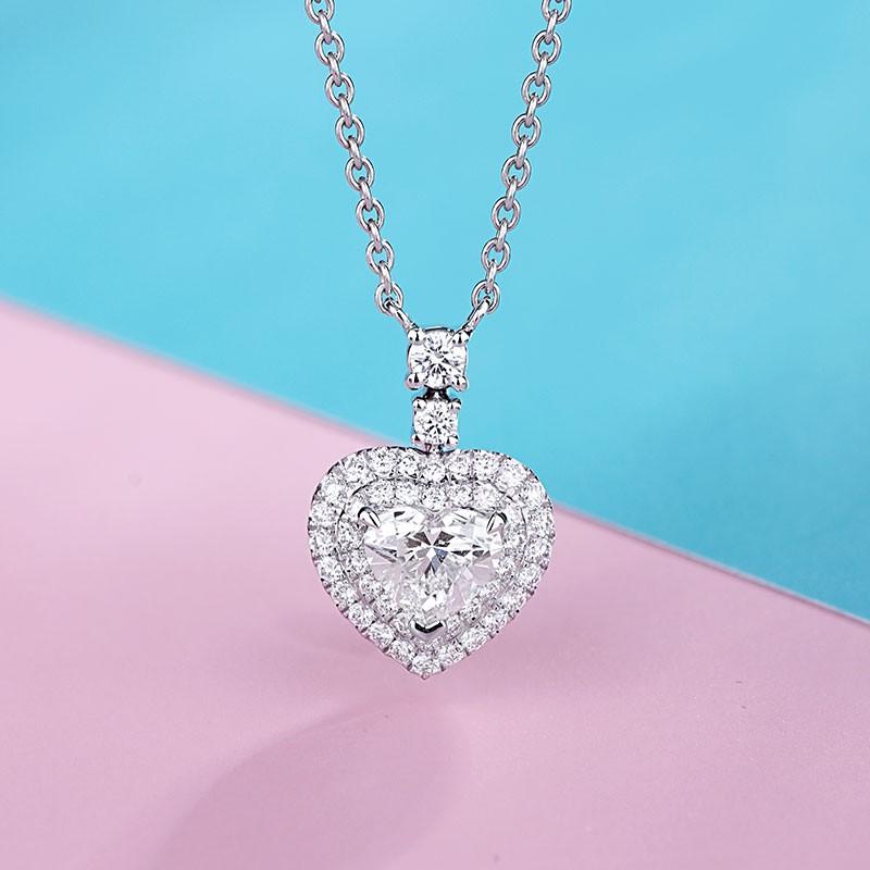 【巧品珠寶】天然鑽石心形切割主鑽搭配群鑲滿鑽圍繞雙心線條設計款項鍊鎖骨鏈