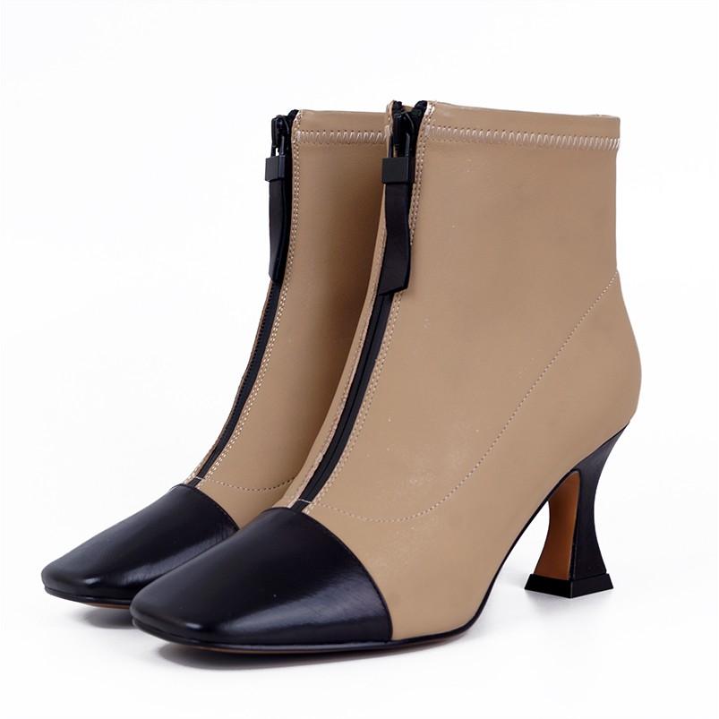 NANA精緻女鞋【名媛感】絲綢羊皮高跟配色短靴