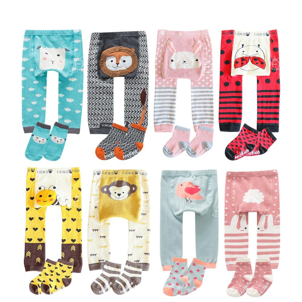 Baby童衣 寶寶秋冬針織內搭褲 男寶寶女寶寶褲子襪子兩件組 嬰幼兒可愛動物造型PP褲 88573