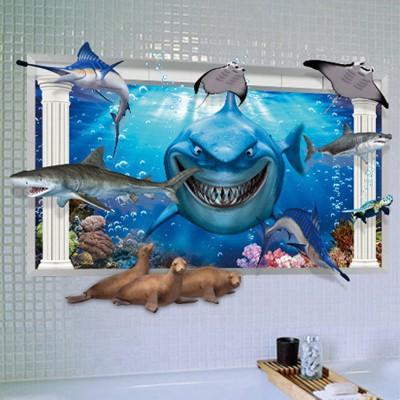 【現貨供應】-3d恐龍立體牆貼畫男孩客廳臥室仿真壁紙 兒童房間裝飾自粘牆貼紙