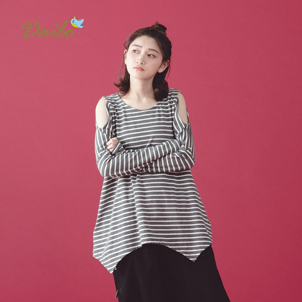 【Dailo】條紋露肩不對襯下襬長袖-上衣(三色)