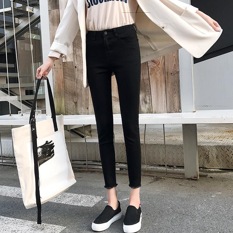 【現貨】韓系高腰緊身褲合身彈力女生衣著丹寧牛仔褲毛邊九分褲百搭鉛筆窄管褲