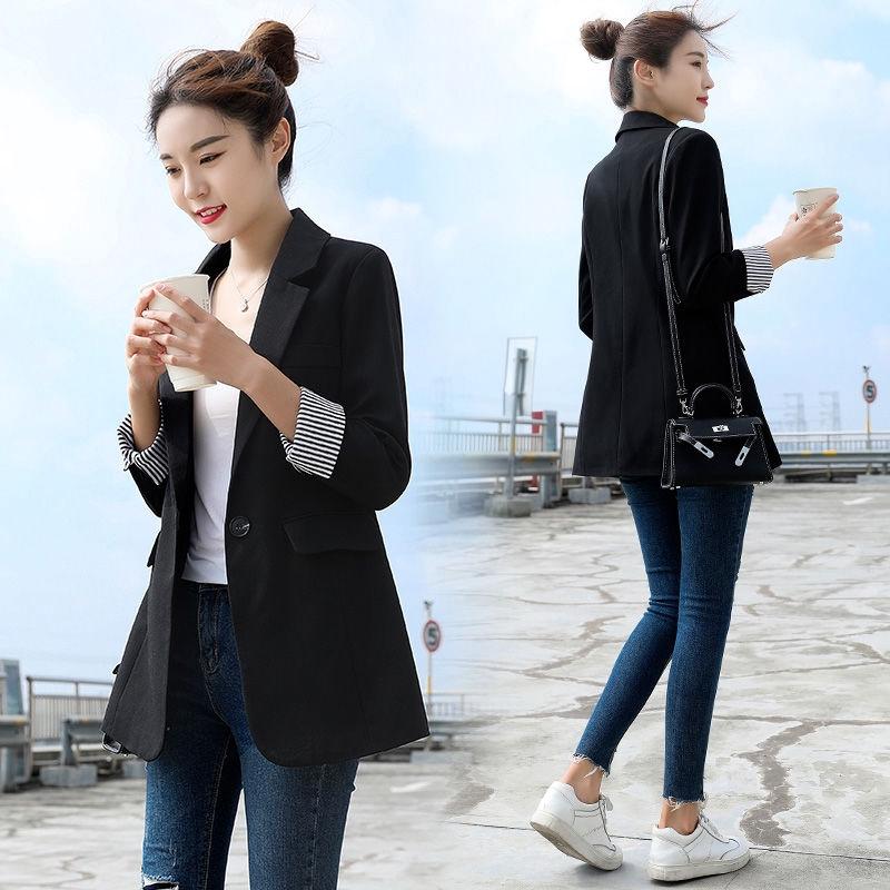 女生外套 西裝外套 休閒外套 chic小西裝女黑色秋季新款韓版休閑時髦網紅上衣春秋外套