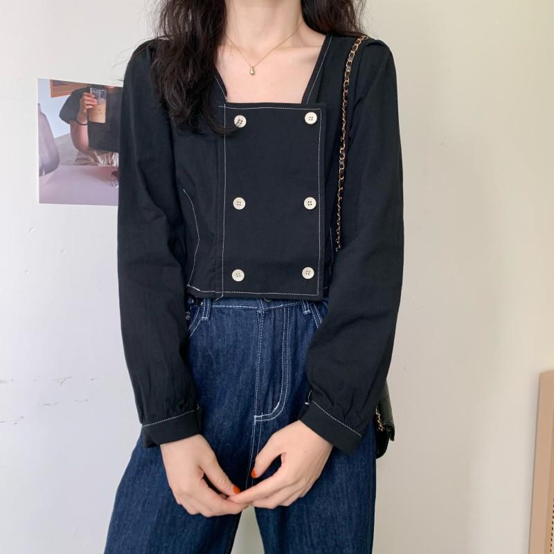 秋季新款韓版設計感小眾方領短版百搭氣質長袖襯衫上衣女