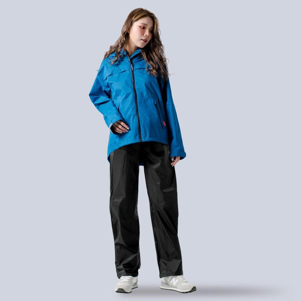 BrightDay 背MAX外套兩件式雨衣(搭配黑色尼龍雨褲) 藍 兩件式雨衣 雨衣《比帽王》