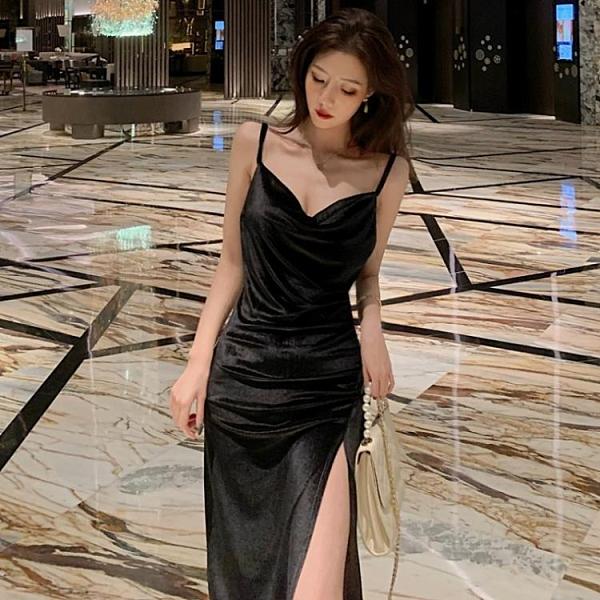 宴會尾牙禮服2021秋裝新款氣質顯瘦性感露背開叉包臀絲絨吊帶連身裙女 百分百