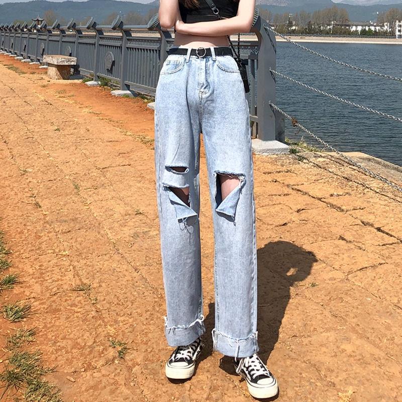 【現貨】破洞牛仔褲女高腰顯瘦垂墜感直筒褲寬鬆休閒百搭破褲時尚潮流ins韓版寬褲長褲