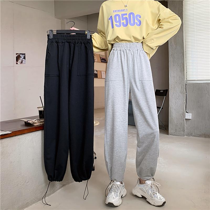 休閑長褲 百搭顯瘦必備運動棉褲女 高腰大尺碼基本寬褲寬鬆休閒直筒束口褲