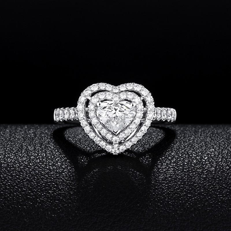 【巧品珠寶】天然鑽石心形切割主鑽搭配群鑲滿鑽圍繞雙心簍空線條滿鑽戒壁豪華款鑽戒