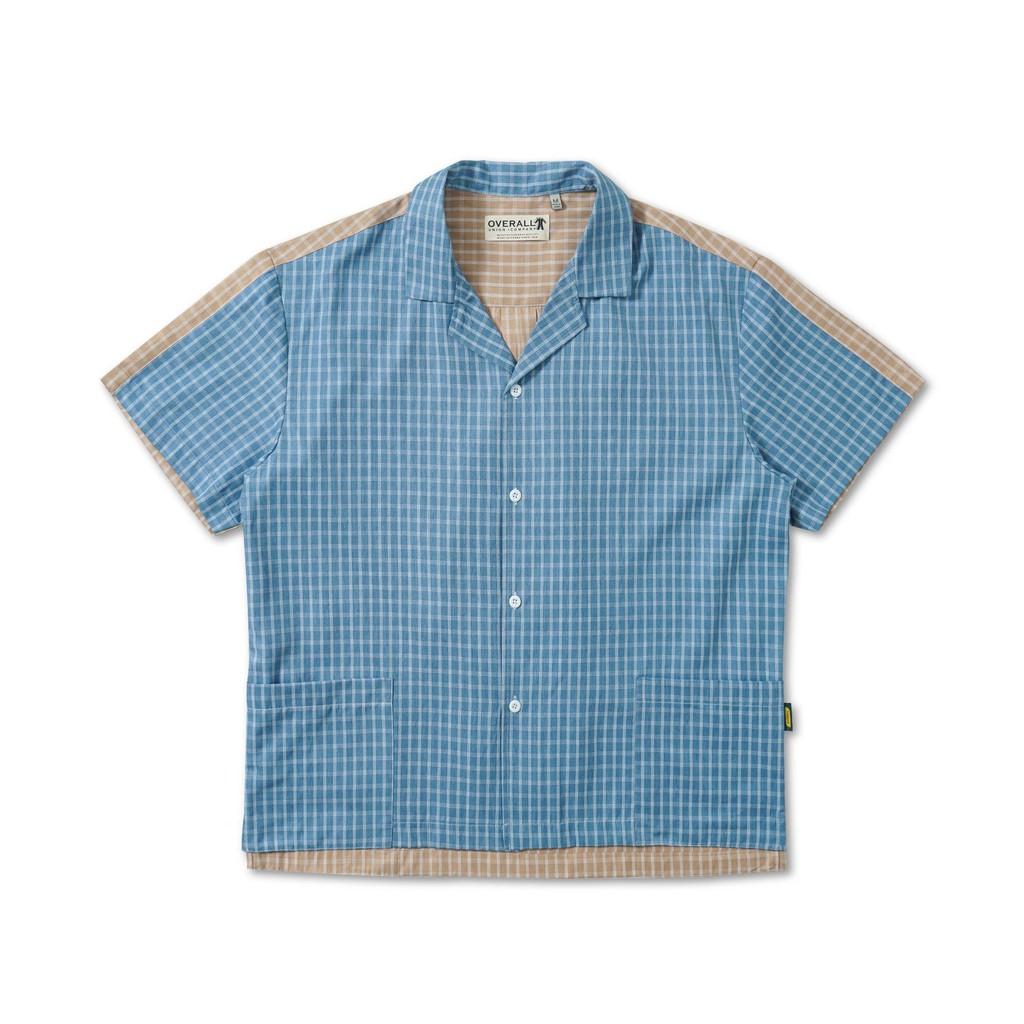 日系寬鬆工裝撞色豎格短袖襯衫【 PUNX 】
