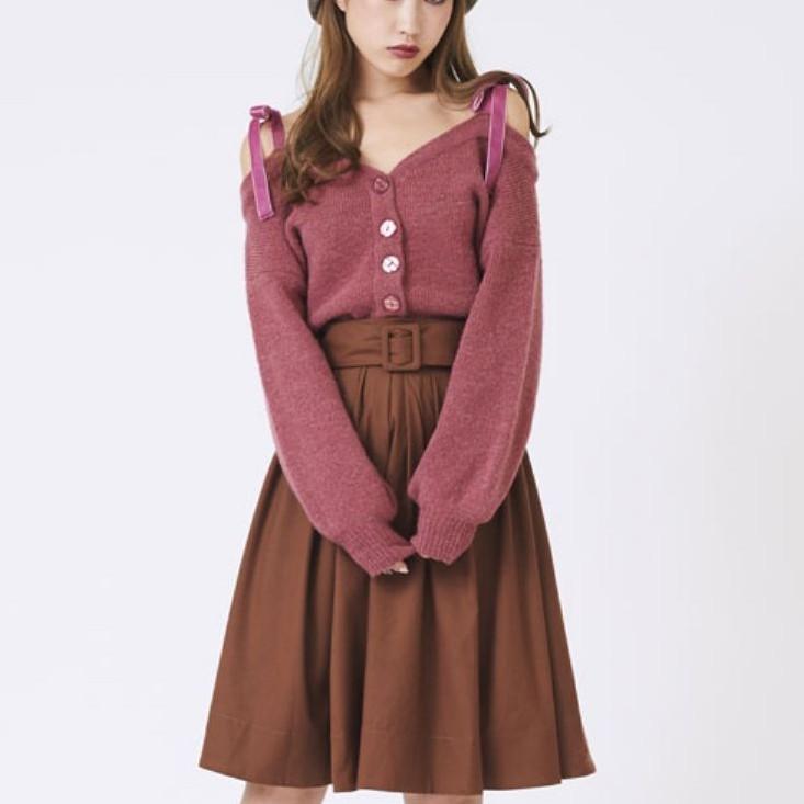 titty&Co [Y8322-008] 寬腰帶打褶A-LINE裙 深咖啡色