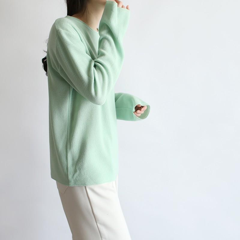 girlmonster 正韓 圓領長袖針織上衣 粉彩色系 (白色 黃 粉紅 薄荷 藍) 【A0451】