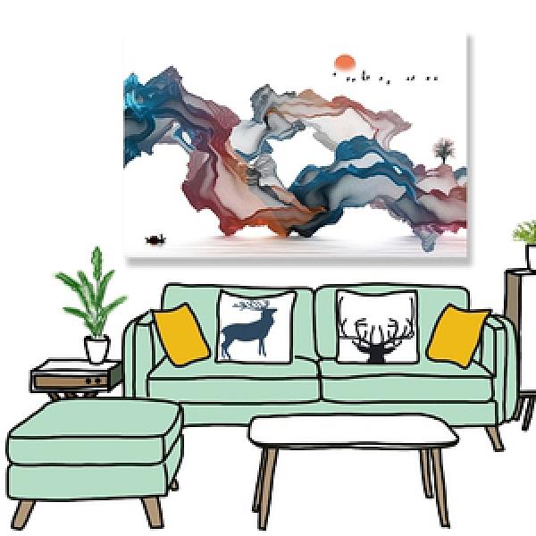 【24mama 掛畫】單聯式 油畫布 無框畫 60x40cm-山水意境油畫布無時鐘山水意境