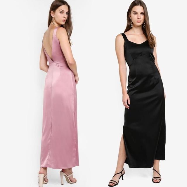 ZALORA EVENING 後V領連身長裙-2色 ZA0120WAP0596