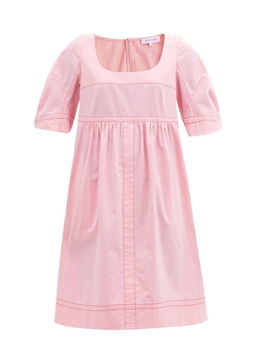 Lee Mathews - May Topstitched Cotton Dress - Womens - Pink