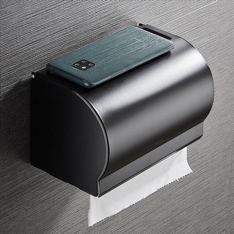紙巾盒 衛生間紙巾盒太空鋁廁所防水多功能免打孔式手浴室掛壁馬桶置物架[優品生活館]