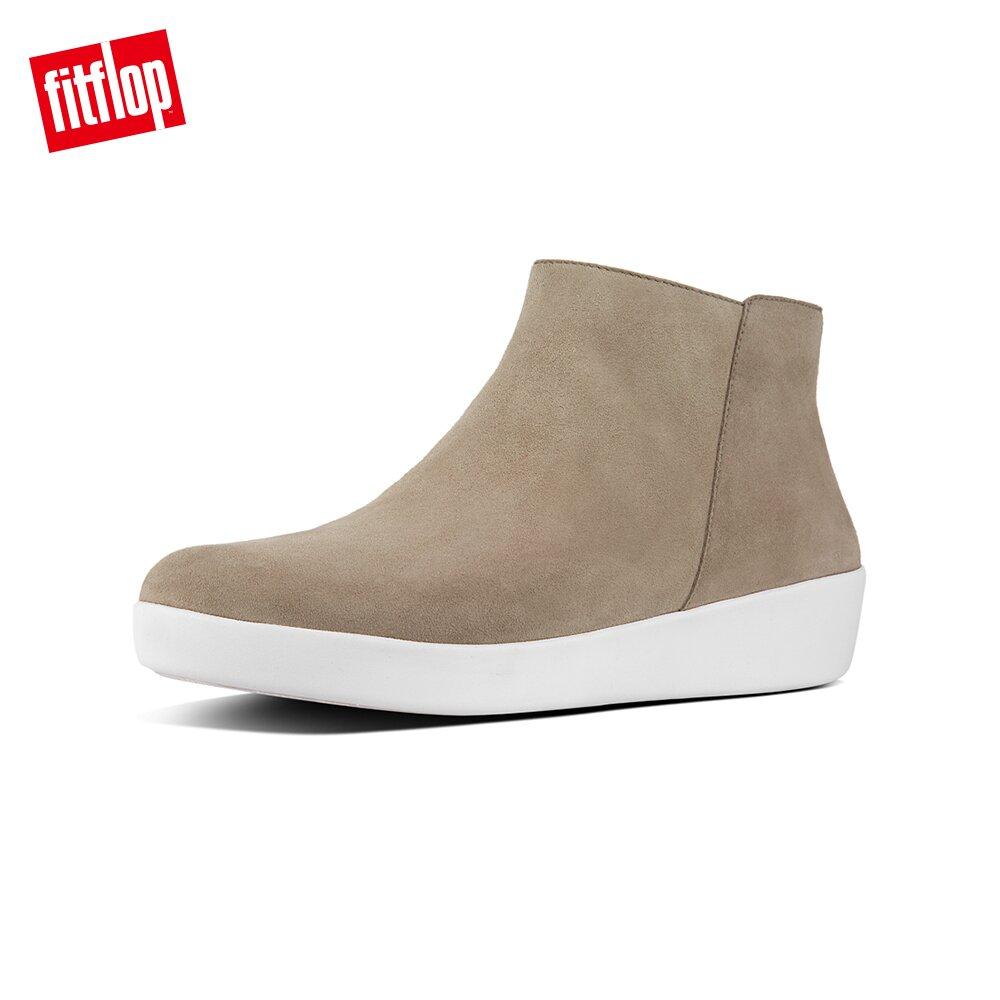 【FitFlop】SUMI 簡約麂皮短靴-女 (淺褐色)