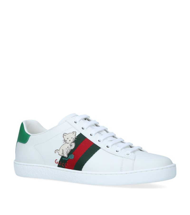 Gucci Kitten-Embroidered Ace Sneakers