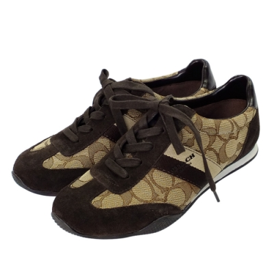 COACH卡其C Logo拼接深咖麂皮雙斜紋綁帶休閒鞋