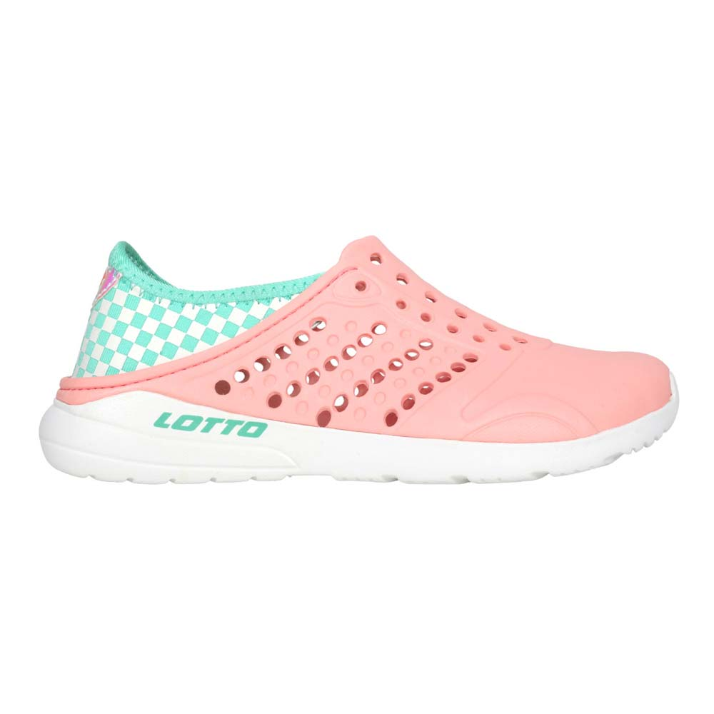 LOTTO 女中童潮流洞洞鞋-休閒 海邊 排水 游泳 水陸鞋 懶人鞋 炫彩 粉橘白綠