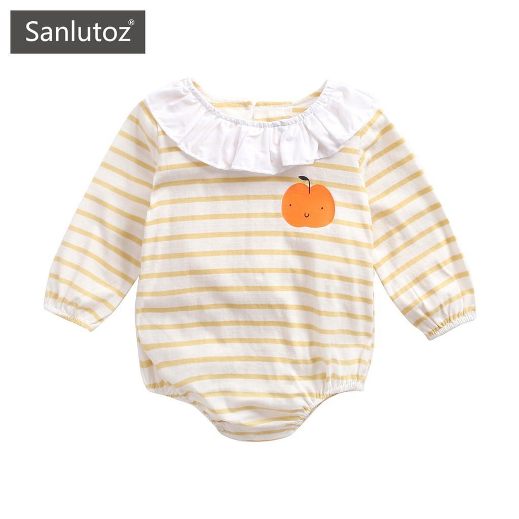 Sanlutoz 寶寶卡通條紋長袖包屁衣 嬰幼兒連身衣秋季新款