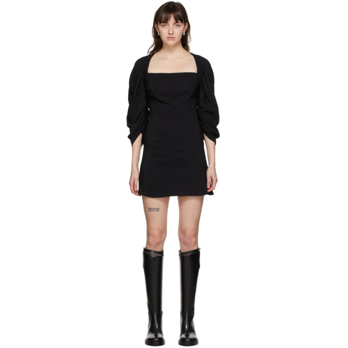 Vejas 黑色弹性过肩连衣裙