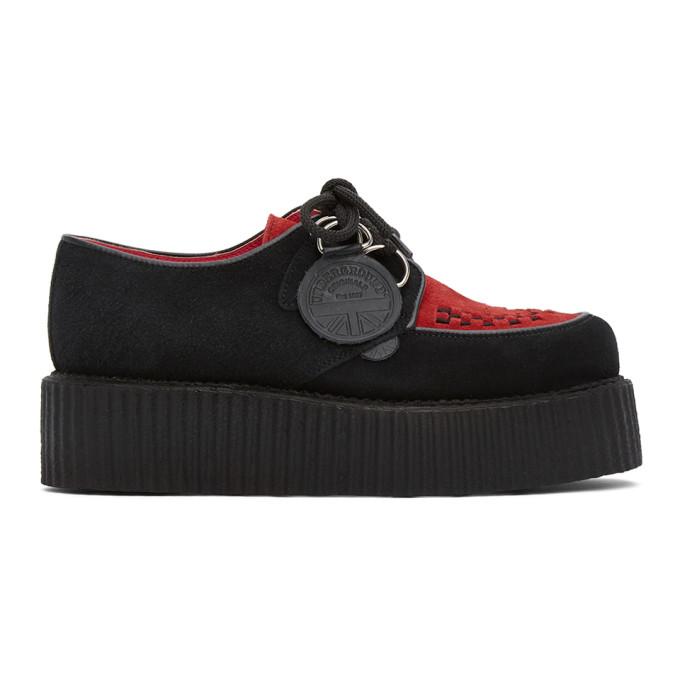 Molly Goddard 黑色 and 红色 Underground 联名 Double 绒面革德比鞋