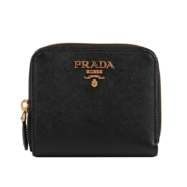 【PRADA】浮雕Logoㄇ型拉鍊零錢袋短夾(黑色) 1ML042 QWA F0002