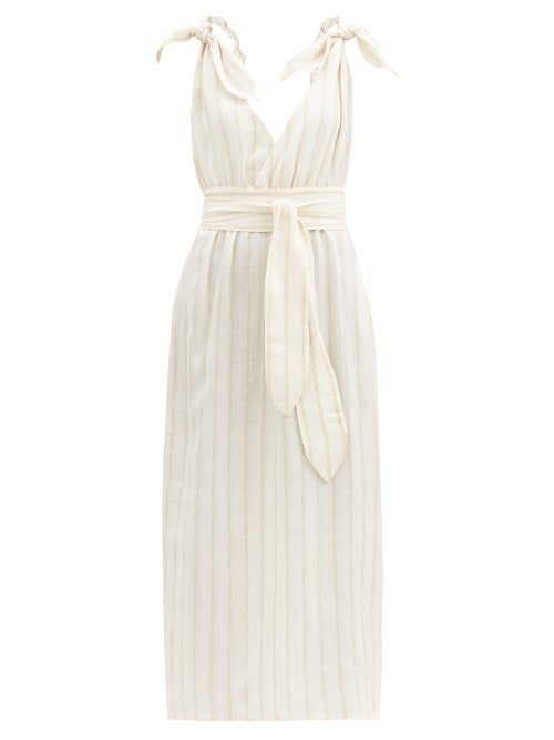 Mara Hoffman - Calypso Striped Linen-blend Dress - Womens - Cream Stripe
