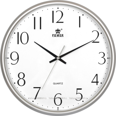 POWER霸王鐘錶-極簡超靜音掛鐘-晶鑽銀-PW-8207-FKS1-32.7CM