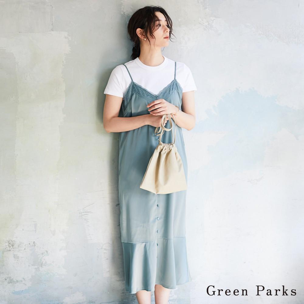 Green Parks 光滑蕾絲拼接吊帶洋裝(6P02L0H0100)