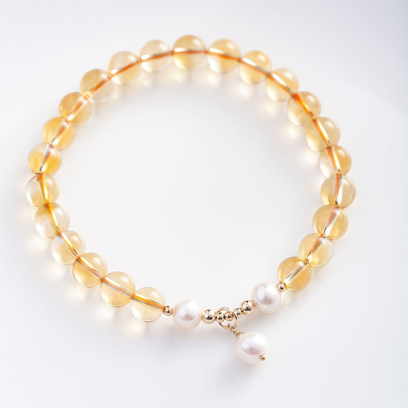 黃水晶天然淡水珍珠單圈手鍊