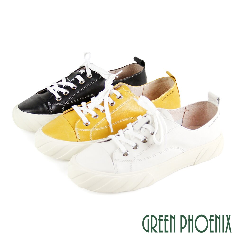 【GREEN PHOENIX】國際精品極簡約綁帶義大利山羊皮平底餅乾鞋U28-2A201