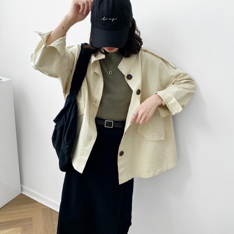 韓國代購休閒工裝風衣外套;預購