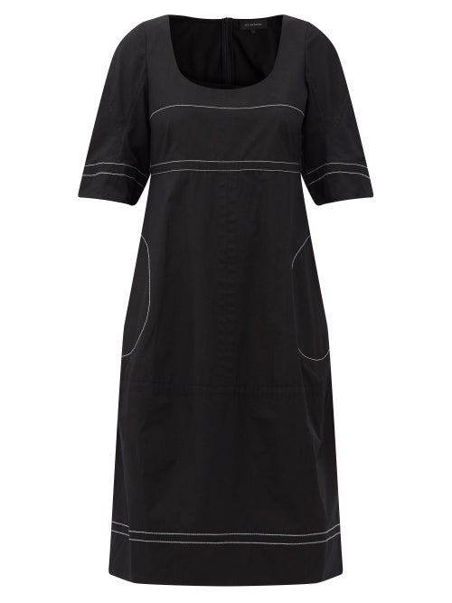 Lee Mathews - May Topstitched Cotton-poplin Midi Dress - Womens - Black