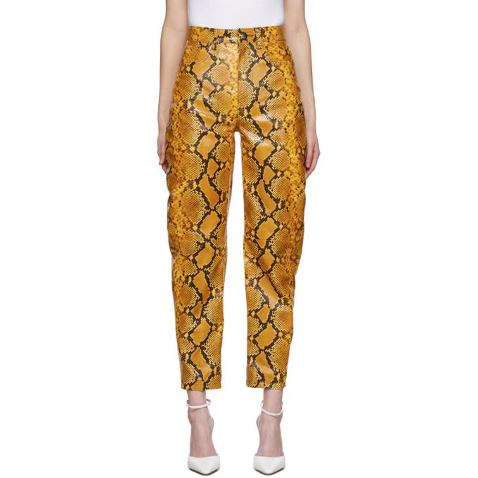 The Attico 黄色蟒蛇纹皮革长裤