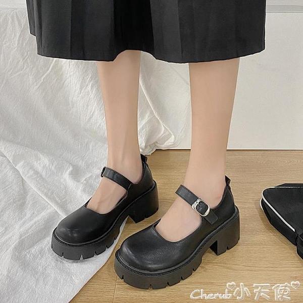 瑪麗珍鞋 日系小皮鞋女英倫復古厚底jk制服百搭學院黑色中跟瑪麗珍高跟單鞋 小天使