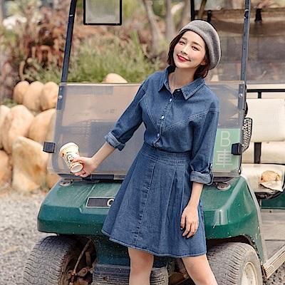 KITTY露營系列~純棉可調式袖長後腰鬆緊牛仔洋裝-OB大尺碼