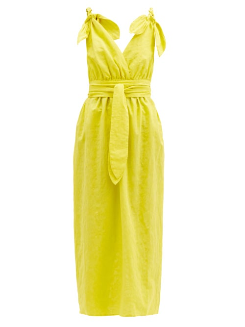 Mara Hoffman - Calypso Braided-strap Cotton-blend Dress - Womens - Yellow