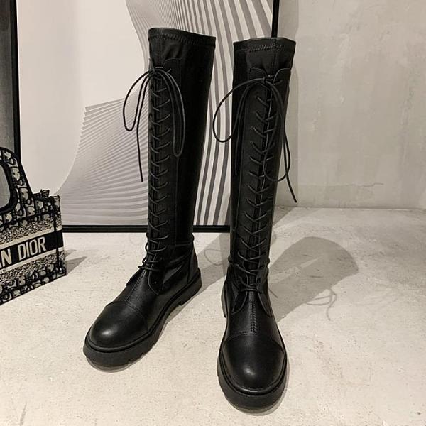 長靴女過膝2020新款秋季單靴軟皮百搭瘦瘦中筒春秋長筒高筒騎士靴 雙十一全館免運