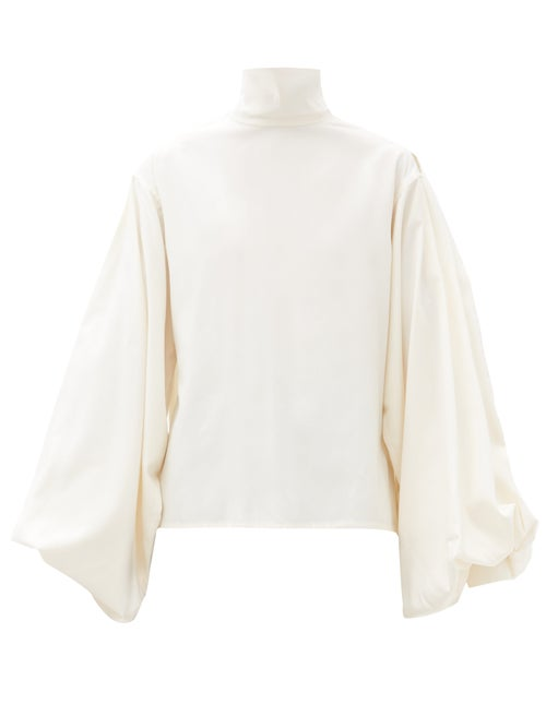 Victoria Beckham - Balloon-sleeve Silk Blouse - Womens - Ivory