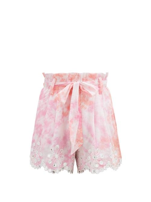 Juliet Dunn - Paperbag-waist Tie-dyed Cotton Shorts - Womens - Pink White