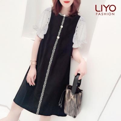 上衣-LIYO理優- 小香風蕾絲泡泡袖洋裝-E016002