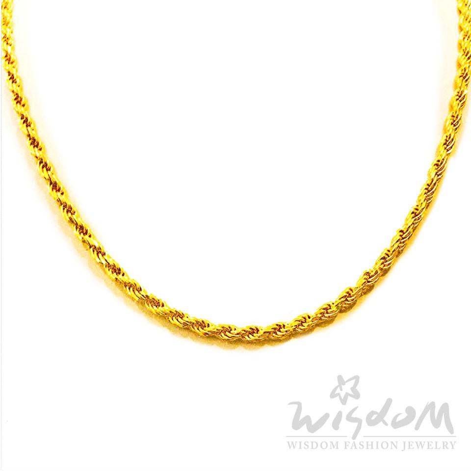 威世登 黃金繩股鏈 足金百搭簡鏈 項鍊(不含墜) 金重約5.74-5.76錢 GB00019-AFXX-FIX