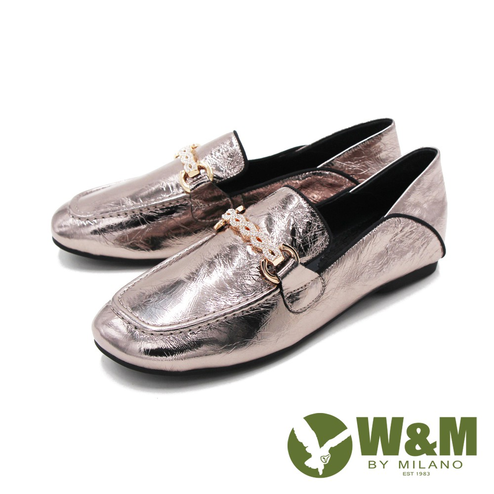 W&M(女)方頭金屬感內增高莫卡辛鞋 樂福鞋 女鞋-銅金色(另有黑)
