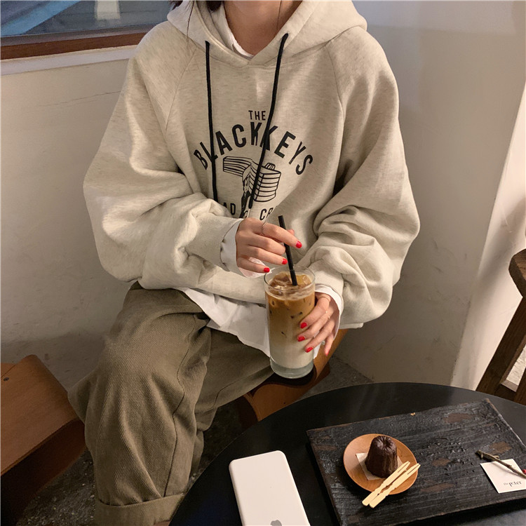 長袖帽T 179370新款秋冬女裝韓版印花連帽長袖刷毛寬鬆學生休閒大學T