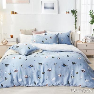 DUYAN竹漾-100%頂級萊塞爾天絲-雙人四件式舖棉兩用被床包組-貓咪日常 台灣製