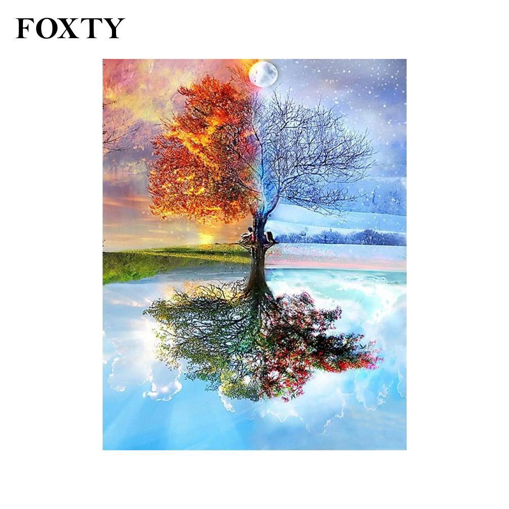 foxty鑽石畫5D 40 x 50cm兒童用四個季節的樹為家居裝飾5D鑽石畫華麗