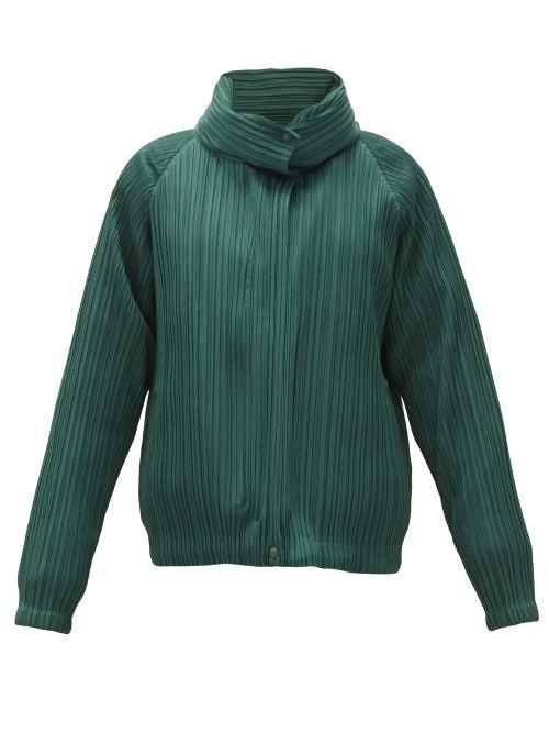 Pleats Please Issey Miyake - Detachable-layer Padded Technical-pleated Jacket - Womens - Dark Green