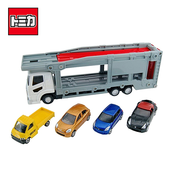 【日本正版】TOMICA 新汽車運輸車 附4台小車 多美小汽車 玩具 收納小車 - 423249